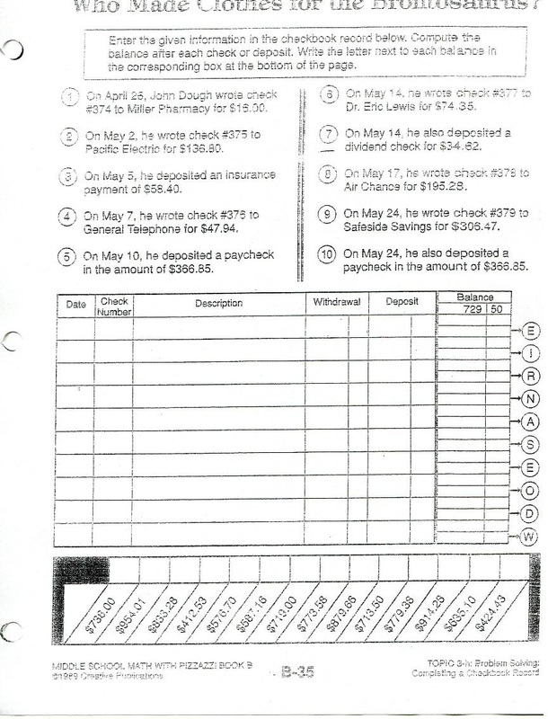 Printables Balancing Checkbook Worksheet worksheet balancing checkbook kerriwaller printables lesson plans steve ps teacher eportfolio for some students the check booking